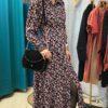robe longue manches longues à motifs